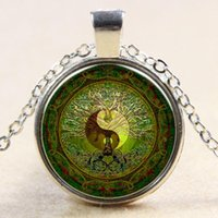 Wholesale Yin Yang Wholesale - Green mandala time gem of yin and yang pendant necklace silver necklace for Europe new Y004