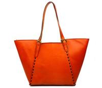 Wholesale Wholesale Large Cotton Handbags - KISSUN Factory Leather Shopping Bag Tote Bag With Rivets Women Handbag Shoulder Bag Simple Design Hot Sales Design Best Quality Luxury