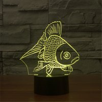 New USB Acrylic Watch The Seven Color Goldfish Nightlight Bedroom Office LED lâmpada de mesa Criança Ocean World Gift de Natal-157