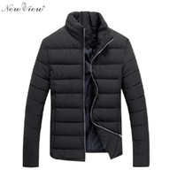 Wholesale Mens Jackets Male Clothes Casual - Wholesale- 2017 Winter Jackets Mens Slim Casual Cotton Coat Men Stand Collar Parka Brand-Clothing Black Red Male Moleton Masculino