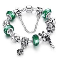 Wholesale Pandora Friendship Charm - New Arrival 925 Silver FriendShip Charm bracelet for Women DIY Green Beads Jewelry Fit Original pandora Bracelets Pulseira Gfit