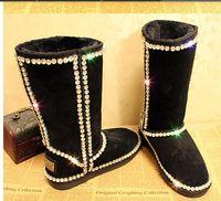 Wholesale Wedding Toe Gems - Free Shipping 2017 Australia Women Wedding Boots premium grade A claw diamond gem diamond genuine leather handmade Xiangtie Tall snow boots