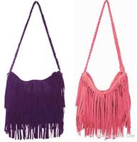 Wholesale Wholesale Suede Purses - 2015 Hot 20pcs Suede Fringe Tassel Shoulder Bag women's fashion brown handbag purse tote bags bag Free Shipping