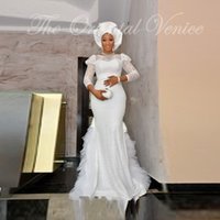 Wholesale Ladies Long Winter Robe - Robe De Soiree 2016 African Style White Lace Mermaid Evening Dress With Sleeves Nigerian Women Formal Gowns for Black Ladies