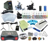 Wholesale Tattoo Ink Equipment Supplies - Complete Tattoo Kit 2 Machine Coil Gun Set Equipment Power Supply 15 Color Inks TKP-D2-5