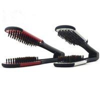 Wholesale Comb Clamp - Hot Pro Hairdressing Straightener Ceramic Hair Straightening Double Brush Comb Clamp Styling Tools Free Shipping