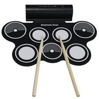 Wholesale Roll Up 128 - Wholesale- Professional KONIX Portable Roll Up USB MIDI Electronic Drum Set MD759 With Stick 7 Pad Free Shipping