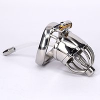 Wholesale Metal Locking Bras - Male Chastity Device Stainless Steel Cock Cage Metal Chastity Belt With Urethral Sound Bondage Sex Toys Virginity Lock