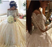 Wholesale 2017 Luxury Vintage Full Lace Wedding Dresses Off Shoulder Bateau Long Sleeves Ball Gown Bridal Gowns With Beaded Pearls Court Train BA3212