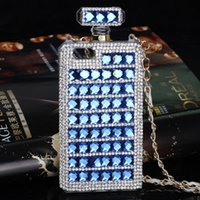 Wholesale purple crystal perfume resale online - Luxury Perfume Bottle Bling Crystal Full Rhinestone Cell Phone Case For Iphone plus SAMSUNG S6 S7 Note Note