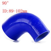 "Wholesale Elbow Reducer Hose - Blue Samco ID:89mm-102mm ID:3.5""-4"" Silicone 90 Degree Elbow Reducer Turbo Pipe Hose Air Intake Pipe Intercooler silicone pipe Universal"