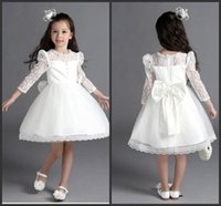 long sleeve prom dress bow back 2018 - Kids Pageant Dresses White Lace Long Sleeve Short Party Dress Knee Length Bow Back Cute A Line Prom Dress Formal Brithday Wedding Dress