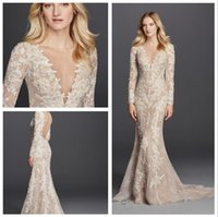 Wholesale White Fabric Covered Buttons - 2016 long Sleeve Sheath Wedding Dresses V-Neck Allover lace paired with nude fabric detail and Button close Back SWG719 gowns
