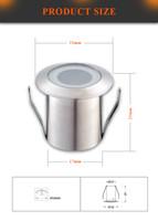perforación industrial al por mayor-Lámpara de cubierta empotrada LED Lámpara de cubierta LED 0.6W Baja tensión Luz de piso Caja de acero inoxidable Tamaño del agujero de taladro 18mm 21MM en altura 10 piezas / lote