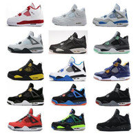 Wholesale Pure Peach - Air retro 4 men Basketball shoes Military Motosports blue Alternate 89 Pure Money White Cement Royalty bred Fire Red Black Cat oreo sneakers
