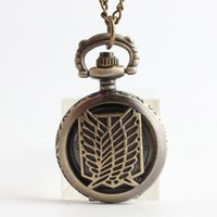 2016 Attack on Titan Survey Corps Scouting Legion Relógios de bolso relógio Bronze locket necklace quartz Relógios presente de jóias 230186