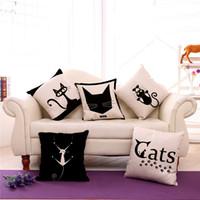sofá vintage clássico venda por atacado-Almofada clássica dos desenhos animados do vintage preto branco 45 cm * 45 cm cat and dog travesseiro almofadas de linho conjuntos de sofá 240509