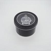 черные круглые губки оптовых-Круглая коробка олова с прозрачной крышкой окна Губка Обычная черная металлическая банка чехол для хранения часов подарочные коробки