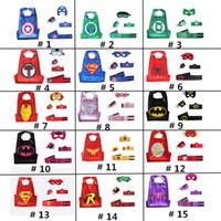 Wholesale Wholesale Superheros - DHL Halloween Party Children's Double Layer Superheros Cape Mask Set Super Hero Cape Mask Wrist Band Belt Cuffs Set for kids Christmas