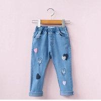 Wholesale Heart Jeans - 2017 New Baby Girls Jeans Elastic waist Love Heart hole Denim Trousers Children Clothing 2-7Y E316975