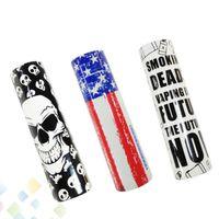 Wholesale flag skin - 18650 Battery Sleeve Skin PVC Heat Shrinkable Tubing Wrap National USA Flag Vaping Proverbs Skeleton Skull Army Re-wrapping DHL Free