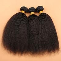 i̇talyan saç örgüsü toptan satış-7A Moğol Sapıkça Düz Örgü İnsan Virgin Saç Kaba Yaki Ucuz Brezilyalı İtalyan Yaki Uzantıları DHL Ücretsiz Kargo