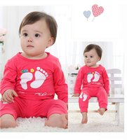 Wholesale Wholesale Baby Clothings - baby 2 pieces clothes set feet design cotton spring autumn girls clothings kids infant boys wear