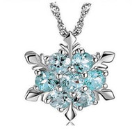 Wholesale Wholesale Silver Beaded Necklaces - Frozen Snow Shape Snowflake Pendant Necklace Elsa Snowflake 925 Sterling Silver Necklace Chain Austrian Crystal Snowflake Necklace DHL
