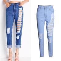 Wholesale Loose Khaki Pants For Women - Plus Size Ripped Jeans For Woman Hip-hop Hole Boyfriend Jeans Girls Night Club Wear Loose Bleached Cotton Denim Pants Jeans BSF0351