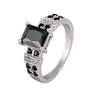 Band Rings square antique engagement rings - New Design K White gold plated jewelry Ring antique Square Black CZ Crystal Ring for Girls Women for Party Wedding HR