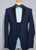 Wholesale Long Sleeve Vest For Groom - 2016 Blue Notch Lapel Groom Wedding Tuxedos wedding Suits for men Bestman's Tuxedo(jacket+Pants+vest+Pocketquare)
