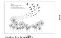 Wholesale flying birds art - Black Flying Dandelion Birds Wall Decals Living Room Fashion Wall Poster DIY Home Decoration Wall Paper Art The Love Beautiful Flight Quote