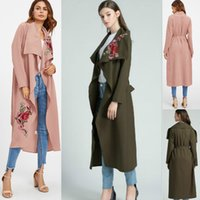 Wholesale Brown Open Jacket Women - Women Autumn Cotton Embroidering Jacket Fashion Long Sleeve Outerwear Coats 2017 Turn-down Collar Winter Casual Open Stitch Irregular Coats