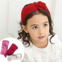 ingrosso fiori di lana-Fascia per capelli a maglia per capelli lavorata a maglia a fiori per bambini in maglia a 3 colori