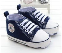 Wholesale newborn bottoms - New Canvas Baby Sneaker Sport Shoes For Girls Boys Newborn Shoes Baby Walker Infant Toddler Soft Bottom Anti-slip First Walkers