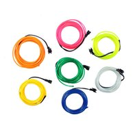 Wholesale El Wire Ac - 1pcs 3M Flexible EL Wire Tube Rope Battery Powered Flexible Neon Light Car Christmas Party Wedding Decoration With Controller