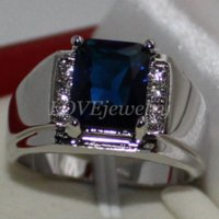 Wholesale Blue Sapphire Ring Cheap - Eternity Men's 925 Silver Emerald-cut Blue Sapphire CZ Side Stone Ring Size 9, 10, 11 Cheap stone epoxy