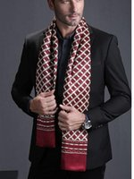 Wholesale Mens Silk Cravats - Wholesale- Fashion Brand the Mens 100% Silk Long Scarf Cravat Double Layer Black Gifts_For 4 Seasons