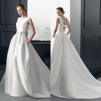 Wholesale Simple Sexy Elegant Red Dress - Ball Gown Bateau White Satin Bow Floor Length Sweep Train Detachable Train Elegant Concise Wedding Gown Wedding Dress