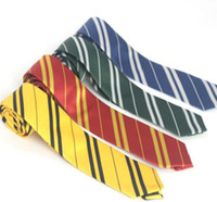 Wholesale Ravenclaw Tie - Harry Potter Necktie 4 colors Gryffindo Ravenclaw Hufflepuff Slytherin College neck tie stripe ties Free TNT FedEx