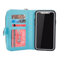 Wholesale Iphone Blue Coin Case - Flip Magnetic 2 in 1 Zip Zipper Leather Wallet case Coin Purse Credit Card Photo Cover for iPhone X for Samsung Note 8