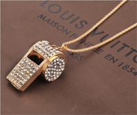 Wholesale Rhinestone Whistle Necklace - Whistle Crystal Necklaces Full Rhinestone Gold Plated Costume Jewelry Long Sweater Chain Gold Plated Sport Jewelry