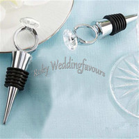 Wholesale Diamond Ring Wine Stopper - DHL FREE SHIPPING 100PCS Something Blue Diamond Ring Wine Bottle Stopper Engagement Favors Party Event Keepsake Kitchen Tools Gifts