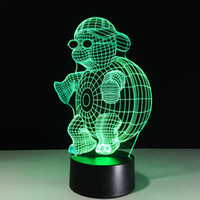 2016 Tortue 3D Illusion optique Batterie lampe Night Light DC 5V USB AA Dropshipping