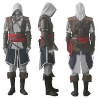 assassins creed cosplay schwarz großhandel-Wholesale-Customized Halloween Cosplay Assassins Creed IV Black Flag Edward Kenway 4 Cosplay ganze Assassins Creed Kostüm