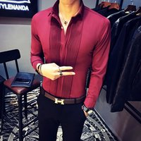 Wholesale Mens Club Clothes - Wholesale- Baroque Shirts Mens Luxury Clothing Club Outfits Mens Clothes 2017 Red Black Dress Shirts Mens Camisas Slim Fit White Tuxedo Top