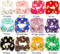 Wholesale Lovely Wholesale Scarfs - Top knot headband gold polka dot head wrap headwear   Lovely Bunny Ear Headband Scarf brozing Hair Band   elastic rabbit baby hair accessory