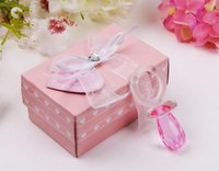 Wholesale crystal baby pacifiers resale online - 100sets Pink crystal pacifier Clear Paperweight Desk Decor Wedding Favor baby gift