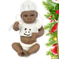 Wholesale Mini Babe - Mini Soft Silicone Reborn baby doll vinyl Lifelike Baby Toy 11 inch Realistic Dolls Black skin Newborn babe