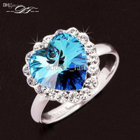 Wholesale Ocean Heart Jewelry Sets - The Heart Of The Ocean Titanic bridal Wedding Ring Platinum Plated Imitation Crystal Fashion Brand jewelry For Women anel aneis DFR035